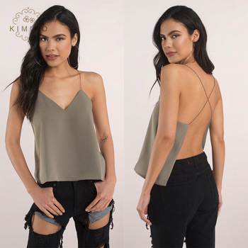 Fancy Tops For Girls Women Summer Sexy V Neck Low Cut Backless Top .
