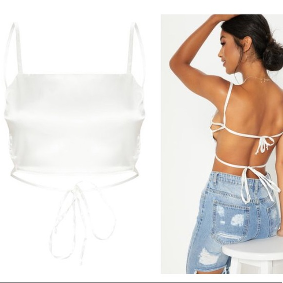 PrettyLittleThing Tops   Cream Satin Backless Strappy Crop Top .