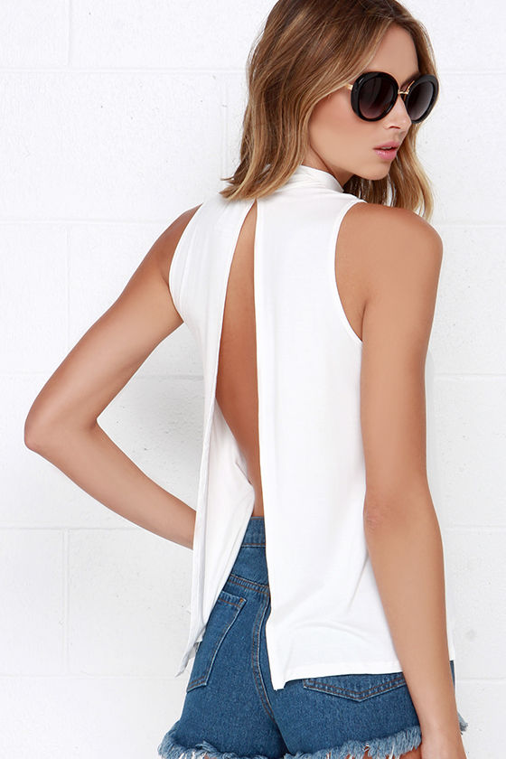 Chic Ivory Top - Backless Top - Mock Neck Top - $28.