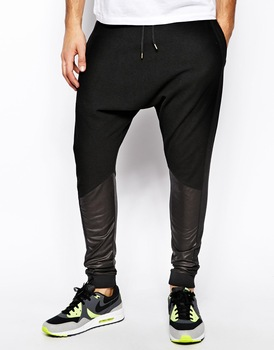 Baggy Trousers Men With Leather Contrast Panels - Buy Baggy .