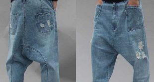 Distressed Streetwear Ripped Harem Jeans Men Casual Loose Baggy .