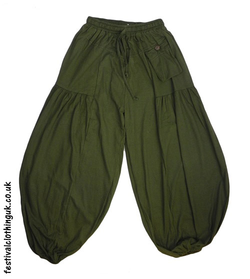 Baggy Trousers with Elastic Waist - Green | Festival Trouse