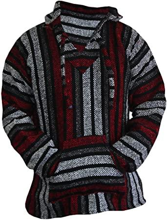Amazon.com: Del Mex Mexican Baja Hoodie Sweater Jerga Pullover Red .