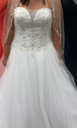 David's Bridal Beaded Illusion Bodice Ball Gown Wedding Dress .