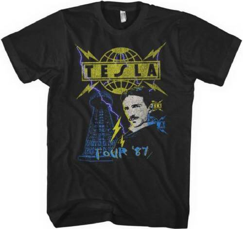 Tesla Tour 1987 Men's Black Vintage Concert T-shirt   Rocker Ra