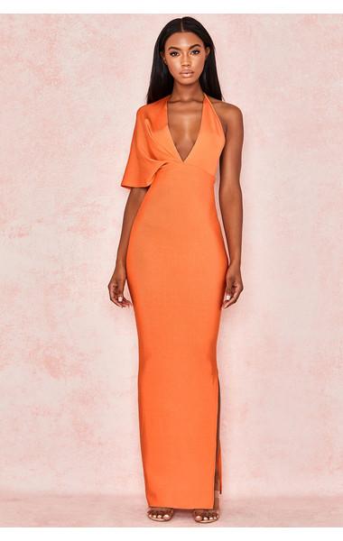 Clothing : Bandage Dresses : 'Clemence' Orange Bandage Drape Maxi .