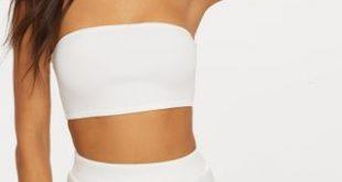 White Scuba Bandeau Crop Top | PrettyLittleThing U