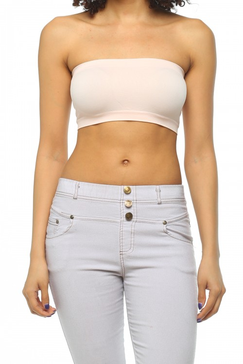Quality Solid Seamless Wrap Style Bandeau Tops Wholesal