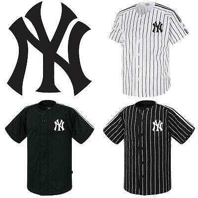 NY New York Striped Button Jersey Baseball Open T-Shirts Uniform .