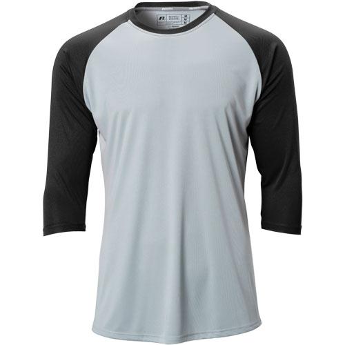 Russell Men's Dri-Power 3/4 Sleeve Baseball Shirt .