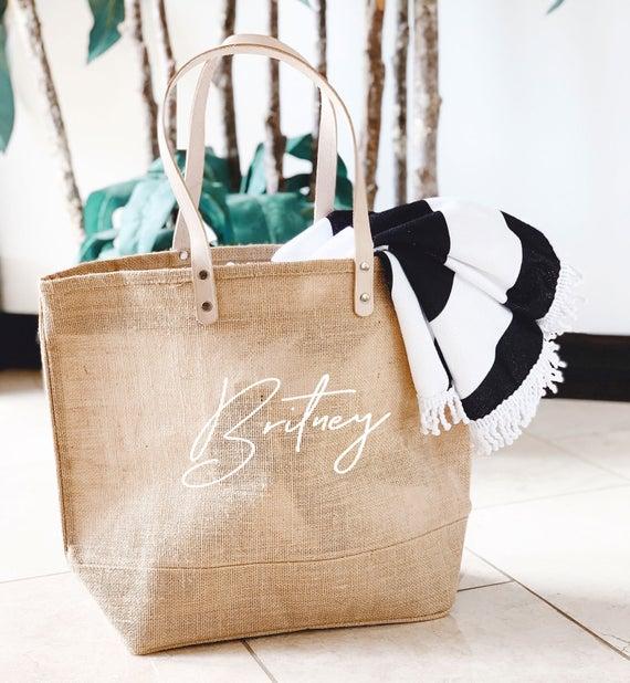 Beach Bag Personalized Burlap Bags Large Beach Tote Bags | Et