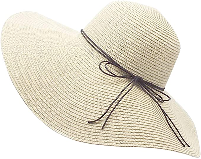 Womens Floppy Straw Hat Wide Brim Foldable Beach Cap Sun Hat for .