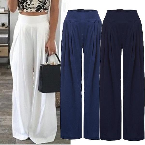 2017 NEW Chiffon High Waist Size Zip Wide Leg White Beach Pants .