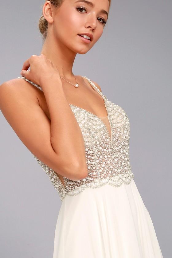 Stunning Maxi Dress - Beaded Maxi Dress - Mesh Maxi Dre