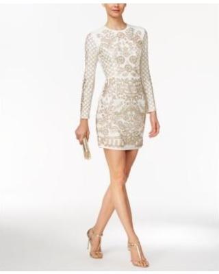 White Beaded Long Sleeve Dress | Weddings Dress