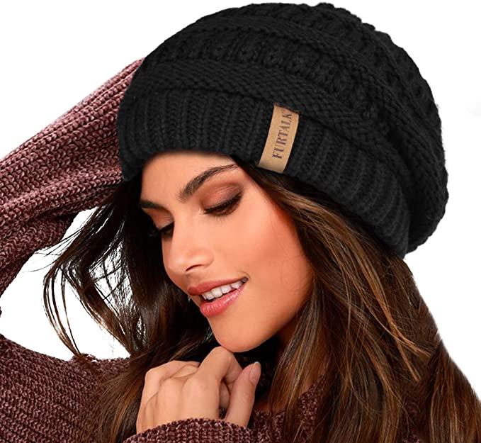 FURTALK Knit Beanie Hats for Women Men Double Layer Fleece Lined .