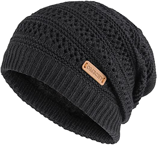 OMECHY Slouchy Beanie Hats Unisex Daily Knit Skull Cap Winter Warm .