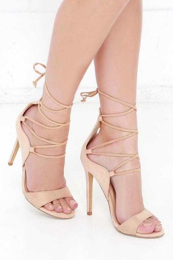 Sexy Beige Heels - Vegan Suede Heels - Lace-Up Heels - $35.
