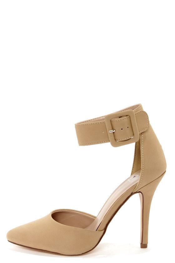 Sexy Beige Heels - Ankle Strap Heels - Pointed Heels - $24.