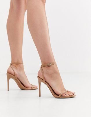 ASOS DESIGN Nova barely there heeled sandals in beige   AS