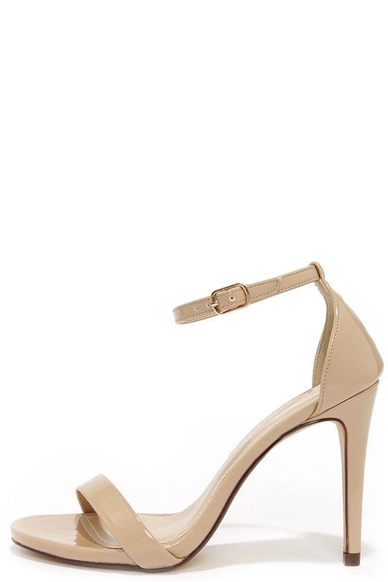 Cute Beige Heels - Ankle Strap Heels - Single Strap Heels - $24.