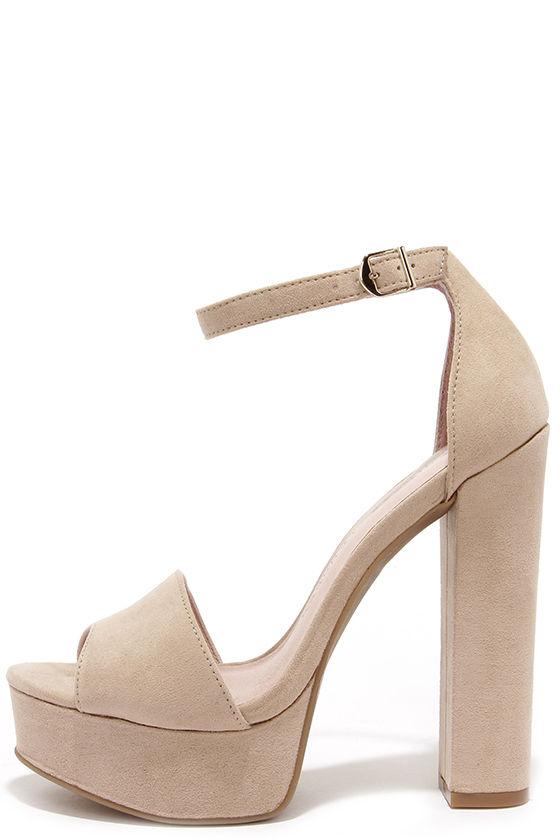 Cute Beige Heels - Platform Heels - Platform Pumps - $69.