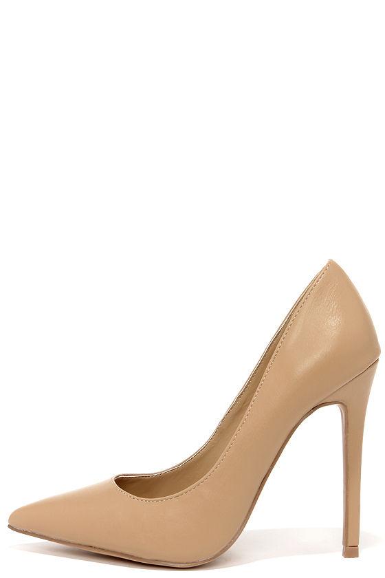 Pretty Beige Pumps - Pointed Pumps - Beige Heels - $34.