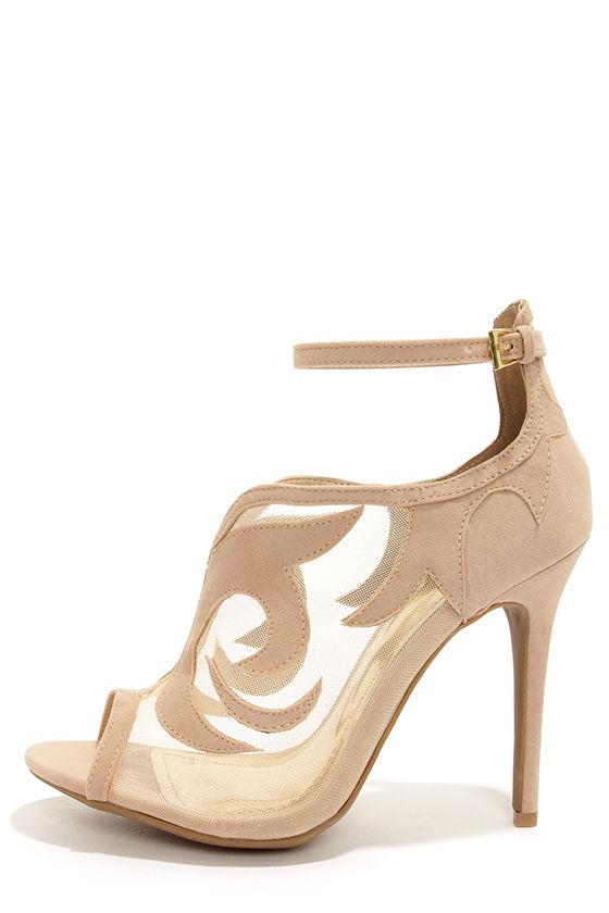 Sexy Beige Heels - Ankle Strap Heels - Peep toe Heels - $34.