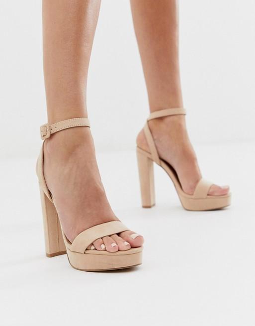 ASOS DESIGN Nutshell platform barely there heeled sandals in beige .