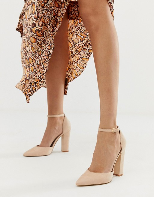 ALDO Nicholes block heeled pumps with ankle strap in beige   AS