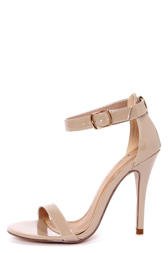My Delicious Chacha Dark Beige Patent Single Strap High Heels - $22.