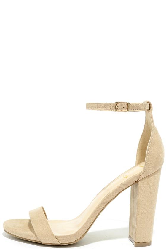 Sexy Nude Suede Heels - Ankle Strap Heel - Single Sole Hee