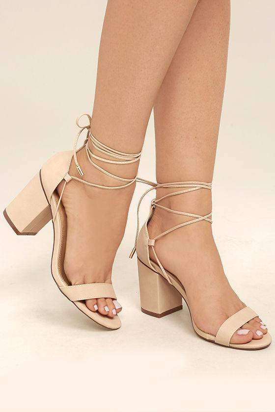 Beige Heels - Lace-Up Heels - Vegan Leather Heels - $38.