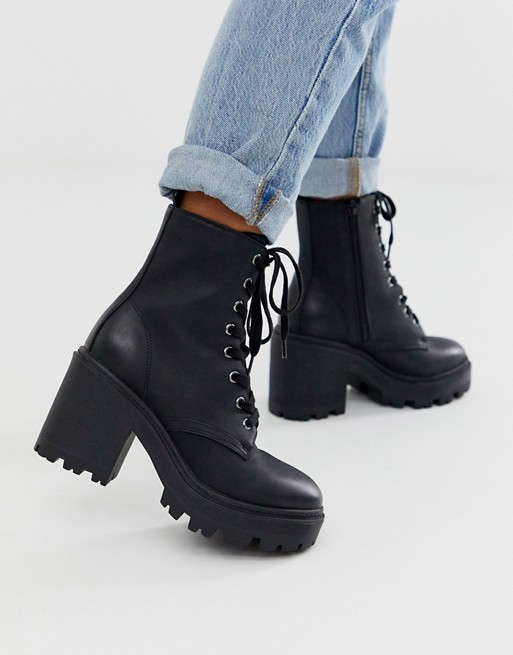 New Look leather look heeled biker boots in black | AS
