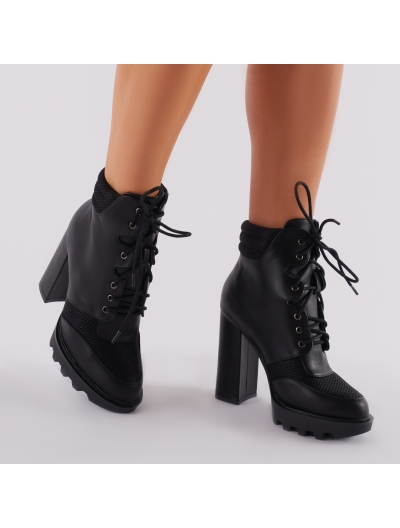 Dua Lace Up Biker Boots in Black | Public Desire | Public Desire