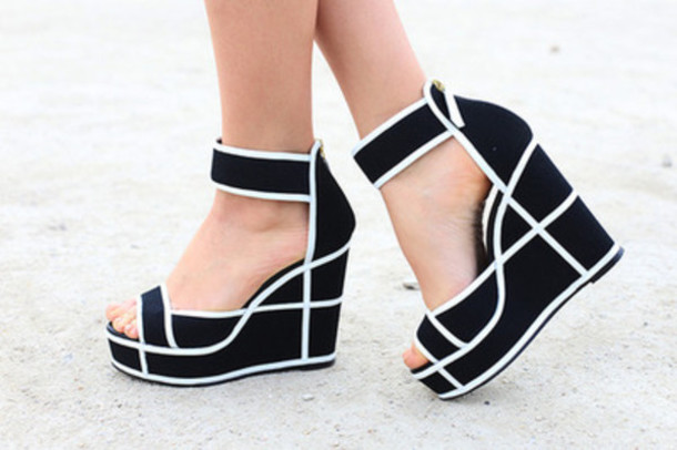 shoes, wedges, heels, black and white, black and white wedges .