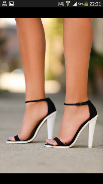 shoes, straps, heel, black, white, sandals, black and white .