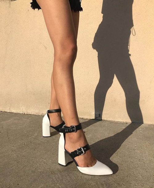 shoes, black white buckle, heels, black and white, white, black .
