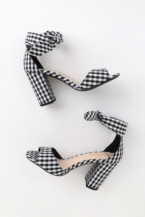 Cute Black and White Gingham Heels - Tying Ankle Strap Hee