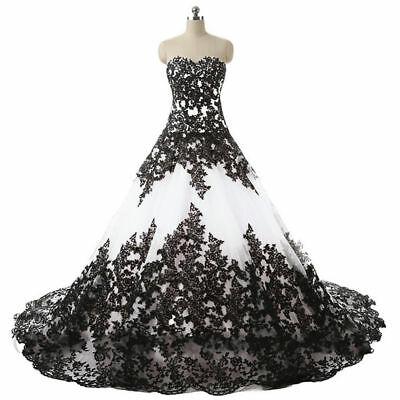 Plus2-26W Gothic Black&White Wedding Dresses Vintage Strapless .