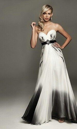 Black and White Wedding Dress   Black wedding dresses, Colored .