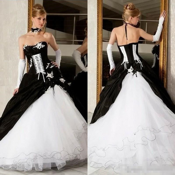 Vintage Black And White Wedding Dresses 2019 Ball Gowns Hot Sale .