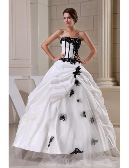 Gothic Black and White Corset Ballgown Taffeta Wedding Dress with .
