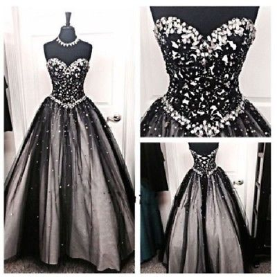 Gothic Wedding Dresses Black and White Sparkly Crystals Beaded .