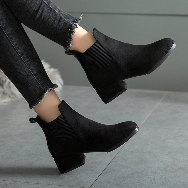 Winter Boots Women 2018 Black Ankle Boots for Women Thick Heel .