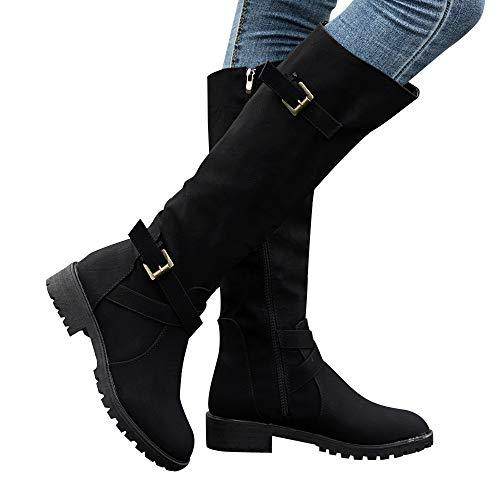 Gyoume Over Keen Boots Women Calf Biker Boots Shoes Buckle Boots .