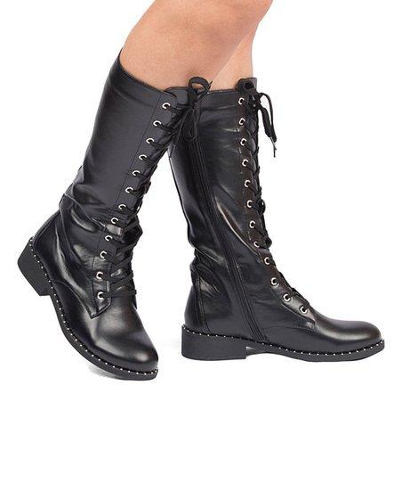 Qupid Black Plateau Combat Boot - Women | Zuli