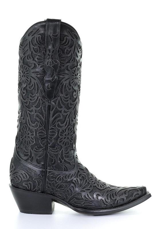 Corral Women's Black Full Inlay Snip Toe Cowboy Boots | The Boot Ja