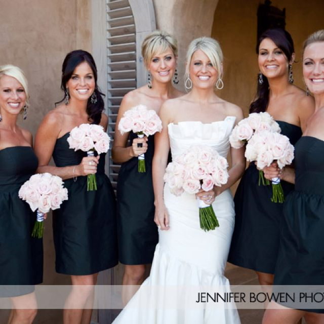 Black bridesmaid dresses done the best I've seen. I like the muted .