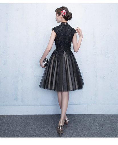 Black Cocktail Dress Lace Mini Party Dress - Cheap Prom Dress .